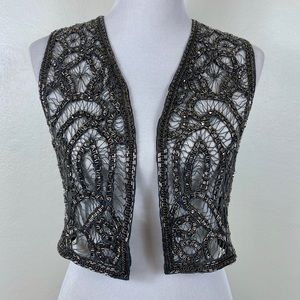 Haute Hippie Beaded Embellished Cropped Vest